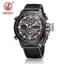 New OHSEN AD1308 Men Dual Time Zone Alarm LCD Sport Watch Mens Quartz Wristwatch Rubber Waterproof Dive Sports Digital Watches цена