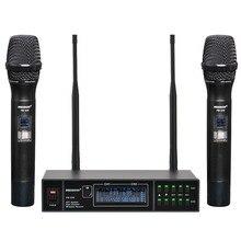 FREEBOSS FB U32 2 דרך מיקרופון מערכת 2x99 מתכווננת תדר מתכת כף יד LCD מסך אלחוטי microfone מסיבת קריוקי