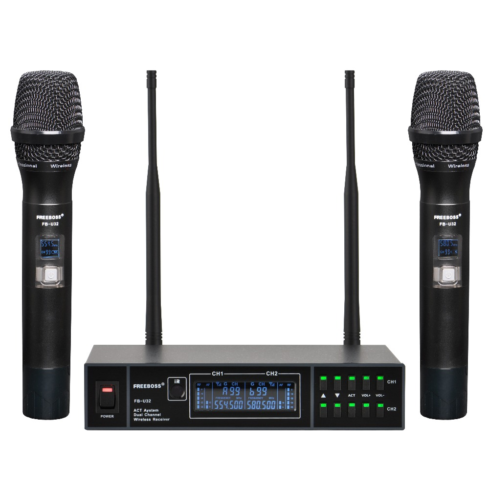 FREEBOSS FB-U32 2 Way 2x99  Adjustable Frequency Metal Handheld LCD Screen Wireless Microphone Party Karaoke Microphone System