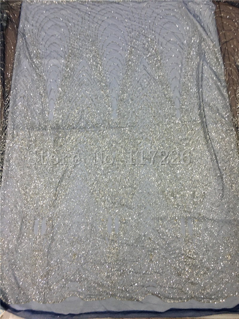Beautiful Hot Selling Glued Glitter Lace Fabric High Quality Jrb-81910 African Lace Fabric For Wedding In Nave Blue Mesh Silver Glitter Arts,crafts & Sewing Fabric