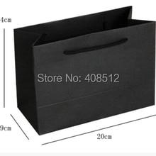 Пользовательский логотип маленький размер черная сумка-переноска персонализированный бумажный пакет