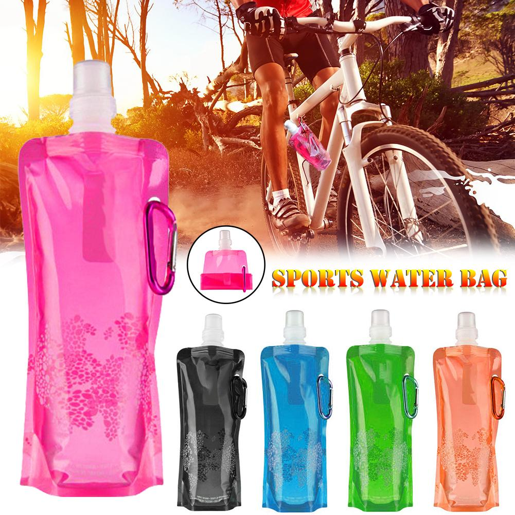 Portable Ultralight Foldable Silicone Folding Water Bottle Water Bag Outdoor Sport Supplies Hiking Camping Soft Flask Water Bag