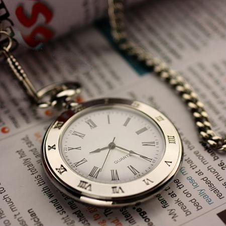 TFashion without cover Rome typeface silver quartz watch pocket watch/chain watches