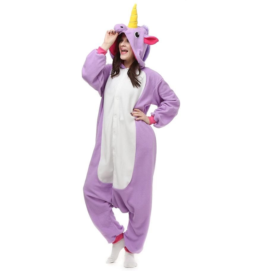 Adulto-Unicórnio-salão-sono-Pijama-Unissex-Kigurumi-Cosplay-Traje-Animal-Onesies-Pijamas