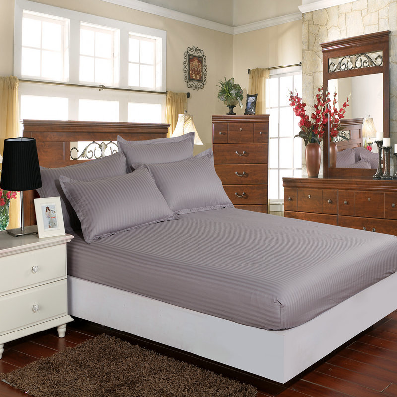 Smn Satin Cotton Fitted Sheet Hotel Bed Sheets Solid Strip