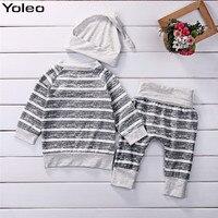Yoleo 3 Stks/set Babykleding Sets Herfst Jongens Kleding Gestreepte Tops Tshirt + Broek Leggings Outfits groothandel kinderkleding