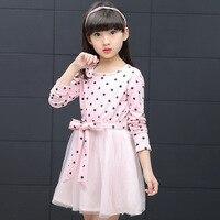 Princess Baby Dress Kids Girls Long Sleeve O Neck Dress One Piece Polka Dot Cotton Dresses