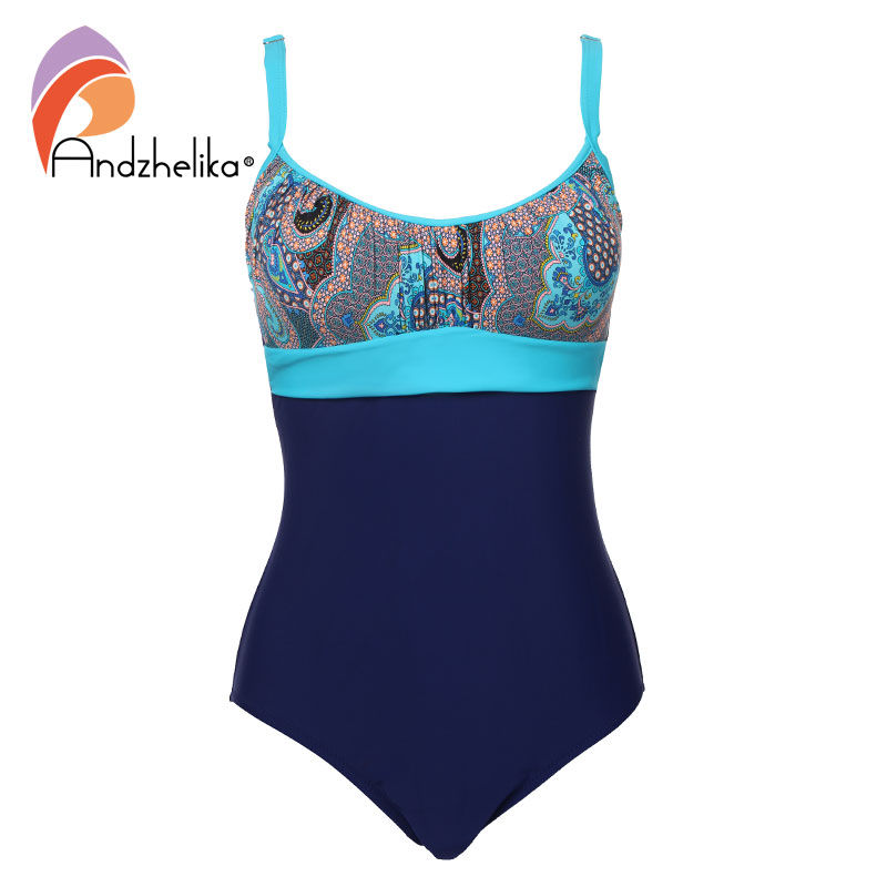 Andzhelika Swimsuit Women 2017 New One Piece Swimsuit Plus Size Bodysuit Large Cup Swimwear Print Bathing Suit Maillot de bain 2017 new sexy one piece swimsuit strappy biquini high waist one piece swimwear women bodysuit plus size bathing suits monokinis