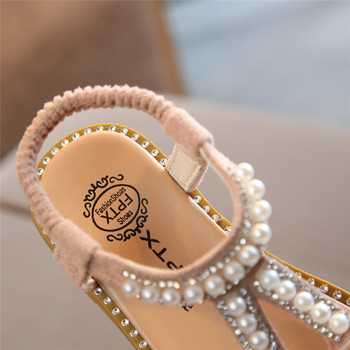 Infant Kids Baby Girls Shose Pearl Crystal Single Princess Roman Shoes Sandals Lovely Princess Shoes Chaussure Fille 40ja08