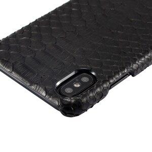Image 3 - Роскошные Чехлы Solque из натуральной кожи, змея питона, 3D чехлы для iPhone X XS Max 10, Ультратонкий Твердый чехол из натуральной кожи