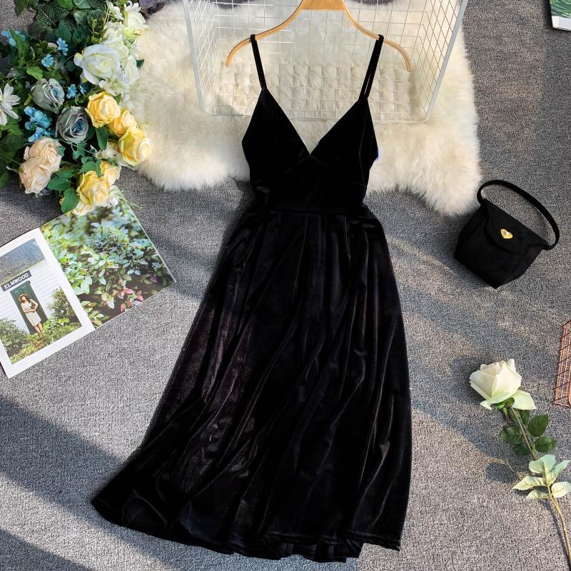 Apricot Vintage Sleeveless Knee Length Velvet Dress 5