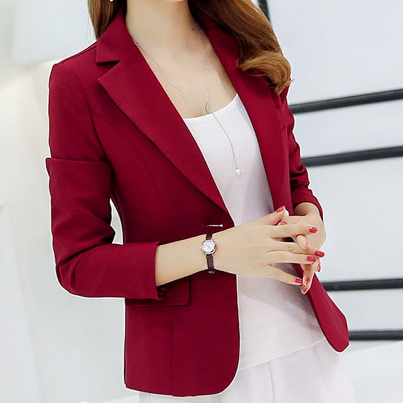Autumn Winter Fashion Single Button Blazer Femme Office Lady Formal Long Sleeve Notched Blazer