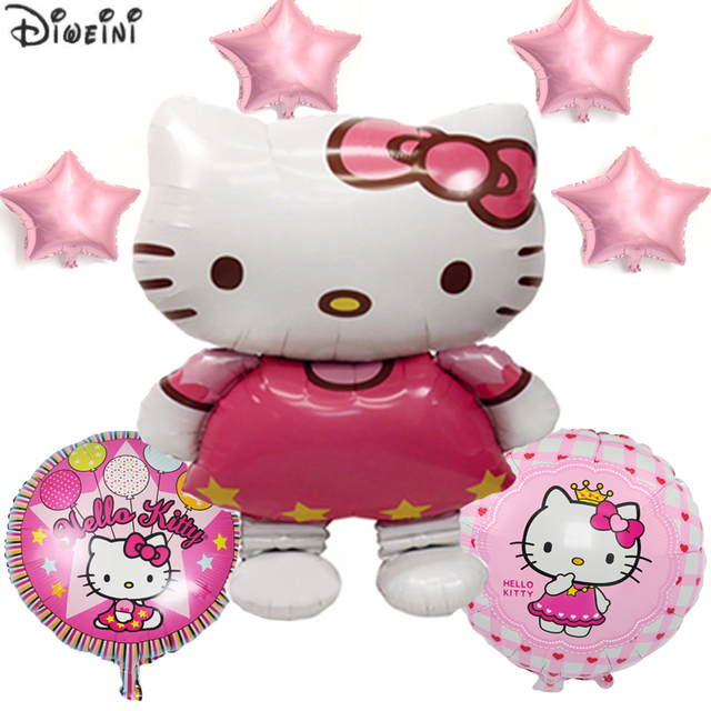 c9031f8d4 DIWEINI Hello Kitty 7Pcs/Set Foil Air Balloons Child Birthday Party  Decoration Kids Ballons Baby Shower Inflatable Balls Holiday