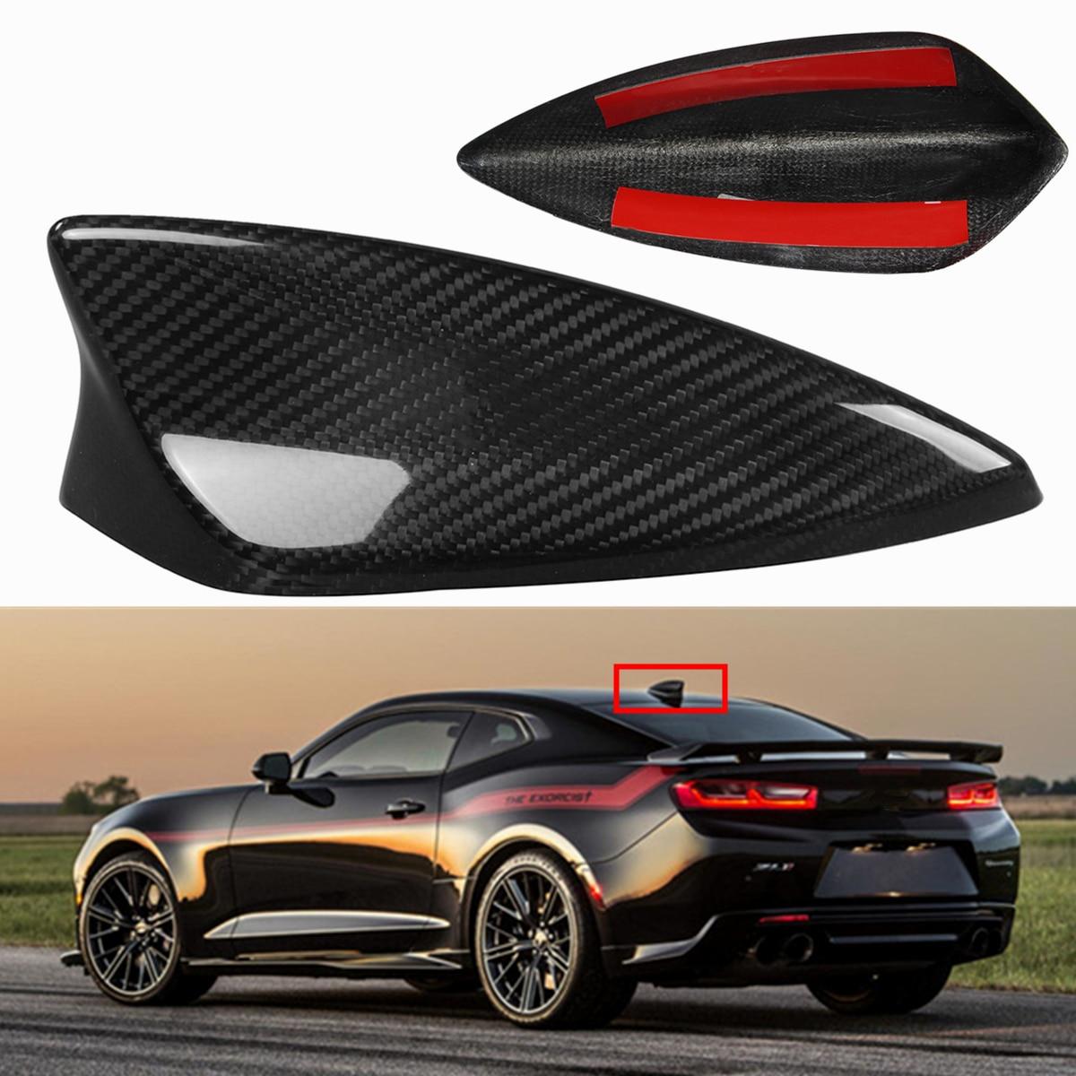 Réel de Fiber De Carbone De Voiture Toit Antenne Antennes Aileron de Requin Style Antenne Couverture Radio Garniture Noir pour Chevrolet Camaro 2017- 2018