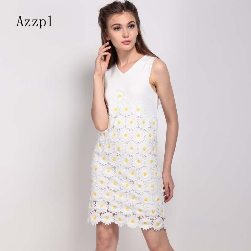 Azzpl Apparel Cute Dress Elegant Wedding Party V Neck Sleeveless Zipper Daisies Lace White Slim