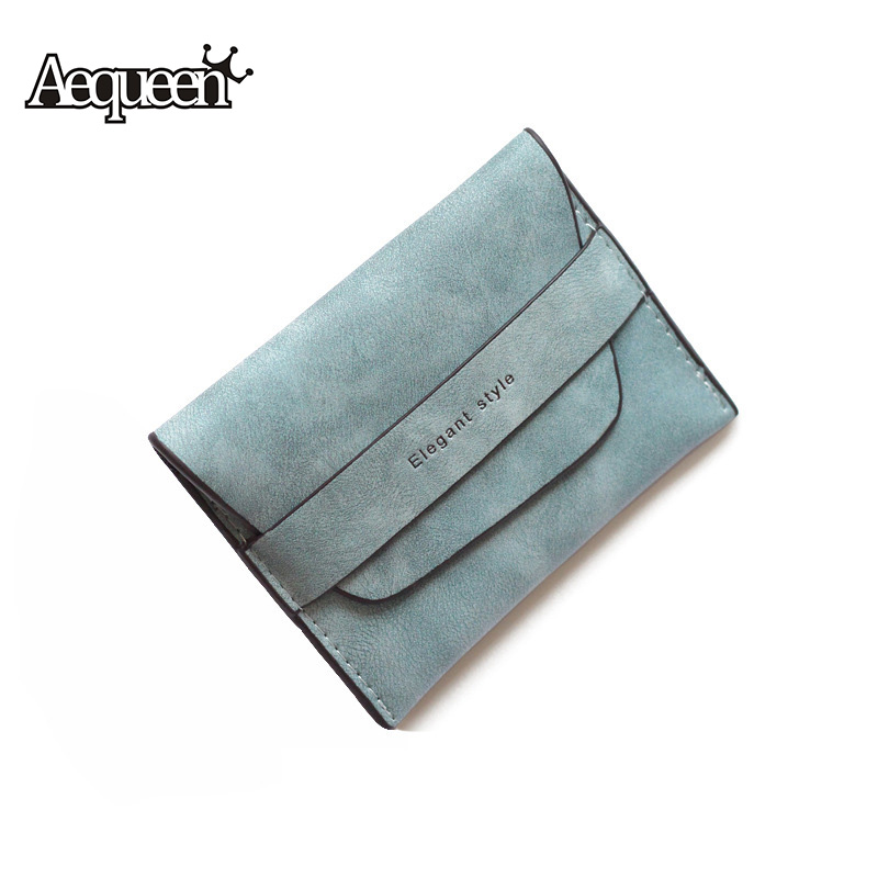AEQUEEN Thin Wallet Women Short Purse Nubuck Leather Wallets Slim Money Bag Small Pouch Sweet Lady Clutches Cute Card Holders aequeen matte long wallets women s purse nubuck leather thin wallet lady coin purses credit card holder money pouch candy color