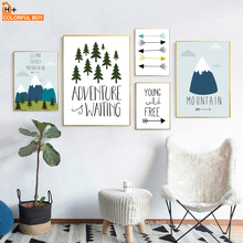 COLORFULBOY Forest Mountain Arrow Adventure Quotes Wall Art Print Canvas Painting Nordic Poster Pictures Kids Room Decor