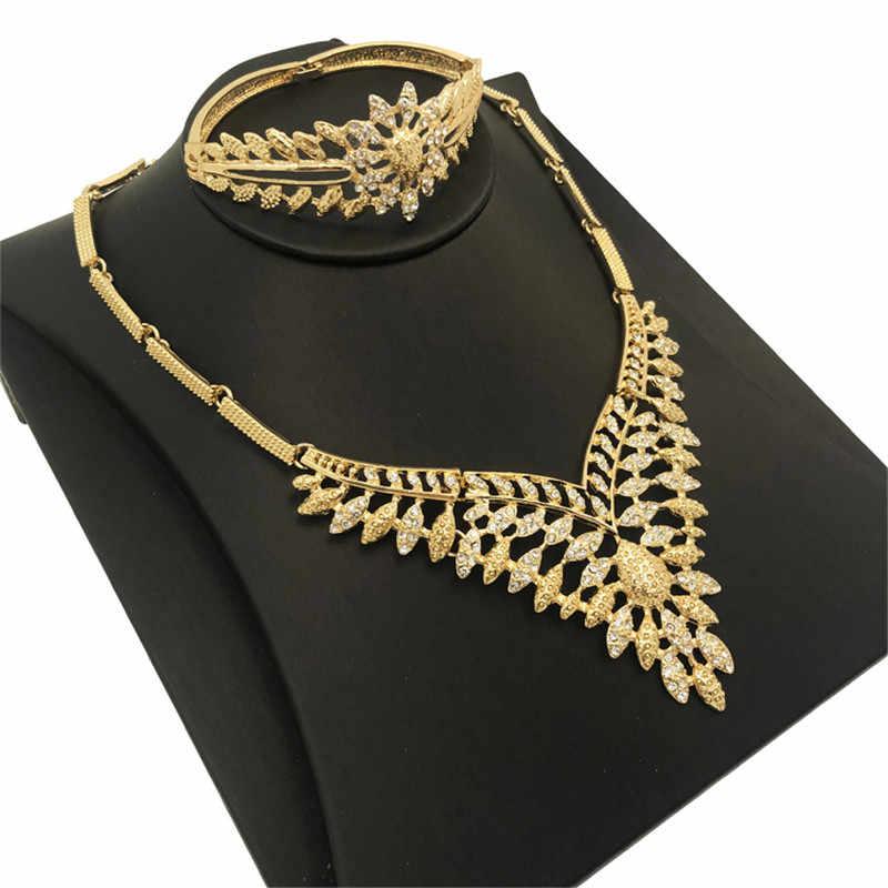 ตะวันออกกลางชุดเจ้าสาวคริสตัลดูไบเครื่องประดับสร้อยคอแหวนต่างหูสร้อยข้อมือชุด