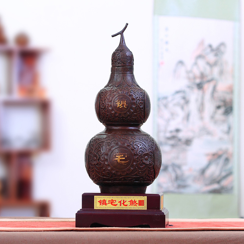 Lucky town house defends the evil spirits home crafts opening gossip copper gourd feng shui ornaments large copper gold