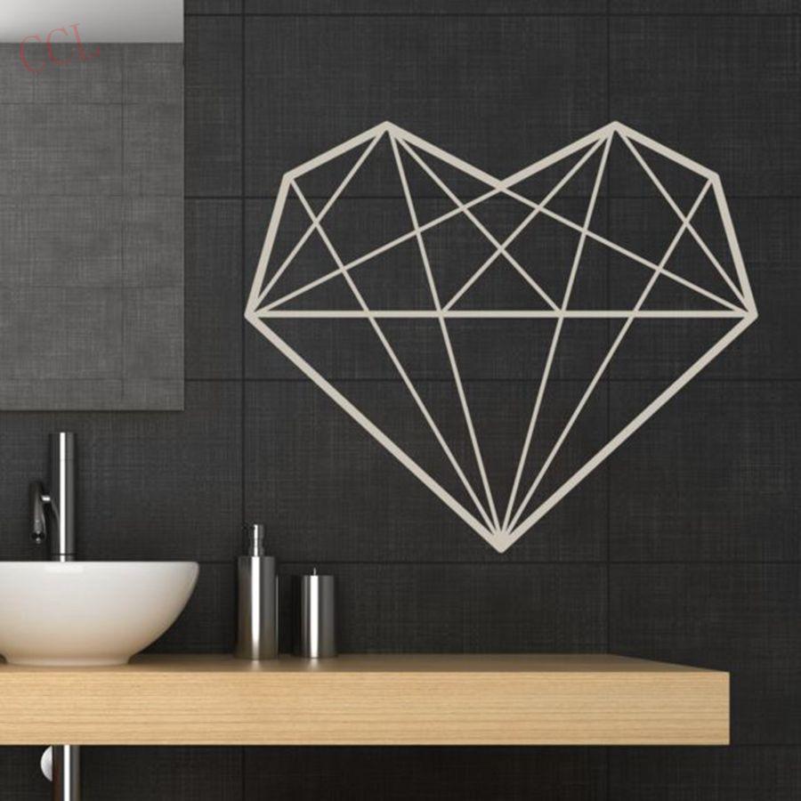 Diamond shape vinyl decals heart geometric wall sticker - Home design app used on love it or list it ...