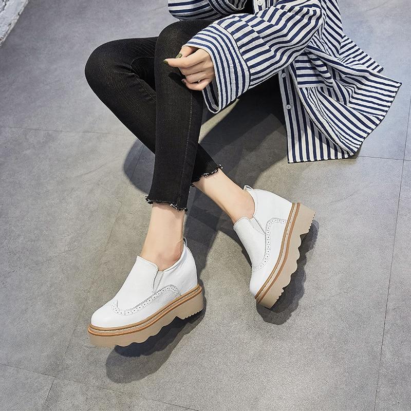 On Casual Chaussures Richelieu Swyivy En blanc Sneakers Plate Inreased Printemps Noir Automne Cuir Wedge Véritable forme Blanc 2019 Slip g4qOwq6