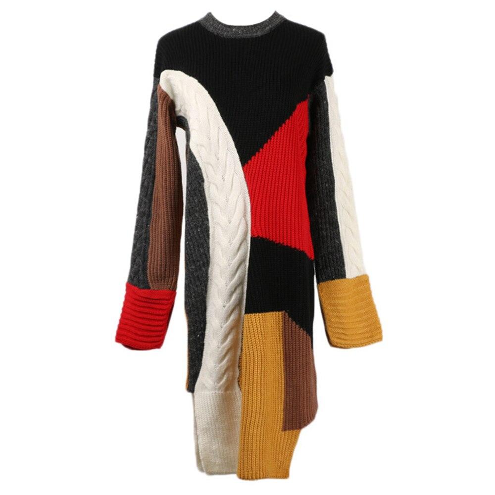 Asimmetrico Vestito Nuovo Delle Inverno Maglia Qualità Abito 2018 Del  Pullover Robe Split In Dell annata Alta Colore ... 72bb995ba5ed