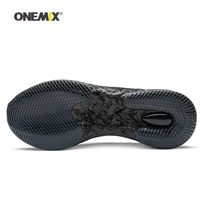 Onemix hommes chaussures de course pour femmes noir maille coussin d'air respirant Designer Jogging baskets Sport de plein Air marche formateurs - 3