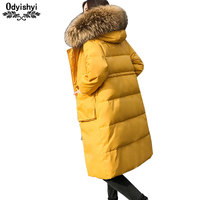 Loose Big Fur collar Down Jacket Coat Women Large size Jackets Winter Thicken Warm White duck Feathers Coat Female Parkas HS340