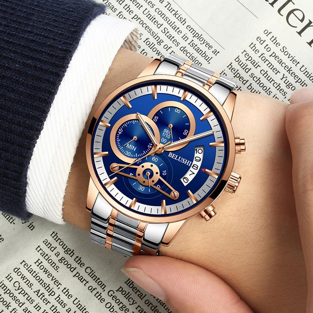 Relogio Masculino montre hommes en acier inoxydable montres hommes Top marque de luxe montres de sport 2018 Reloj Hombre affaires étanche