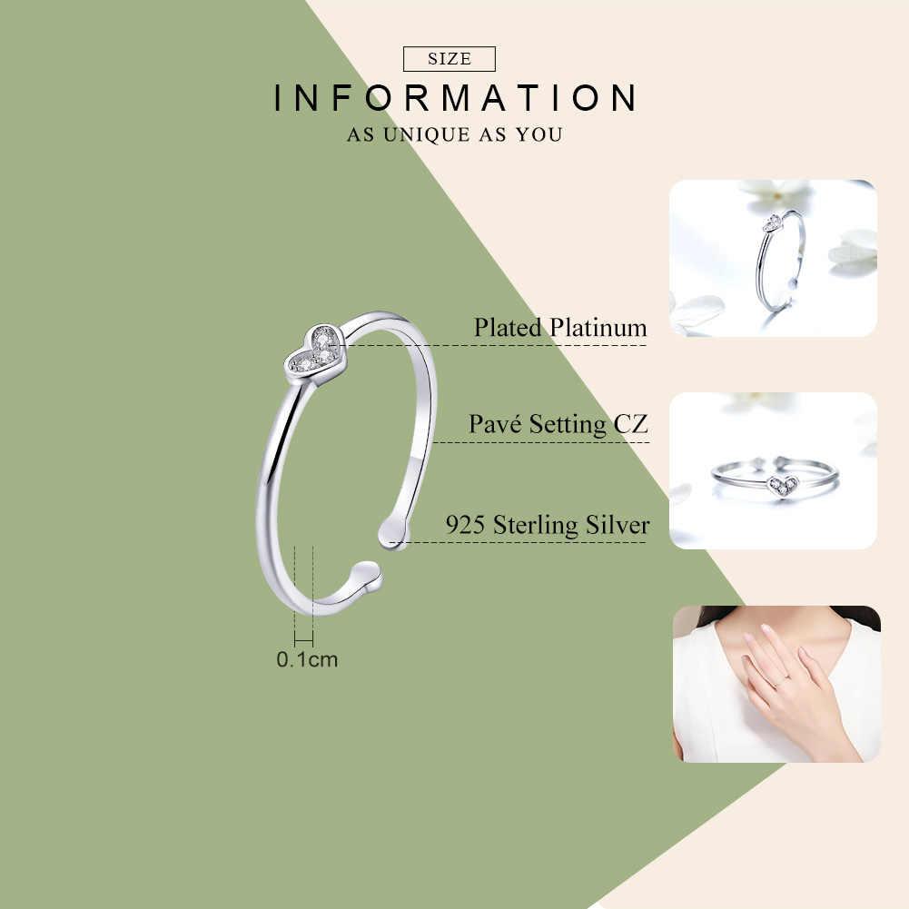 WOSTU งานแต่งงานแหวน 925 เงินสเตอร์ลิงรักแหวนหัวใจผู้หญิงขนาดครบรอบ Silver เครื่องประดับ FIR491