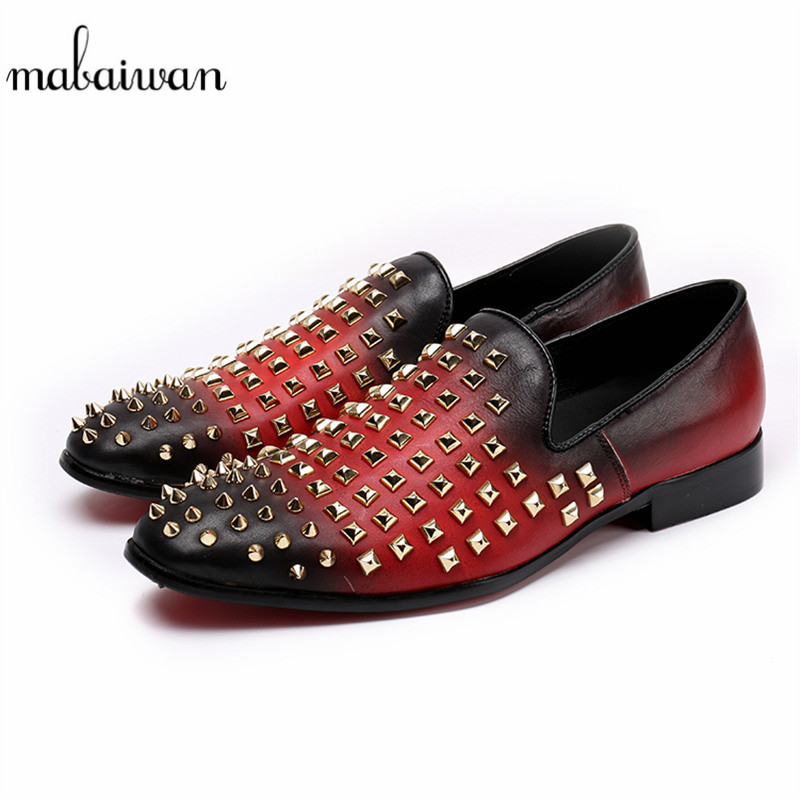 Mabaiwan New Fashion Casual Shoes Red Men Loafers Rivets Slipper Wedding Dress Shoes Men Slip On Studded Stuts leather Flats branded men s penny loafes casual men s full grain leather emboss crocodile boat shoes slip on breathable moccasin driving shoes
