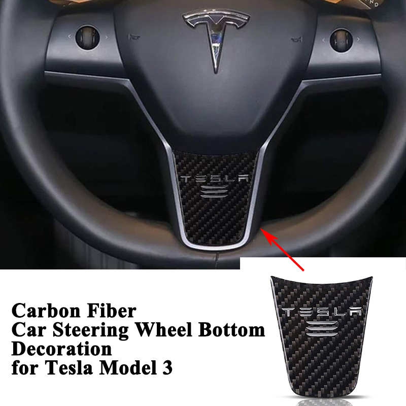 1pc Sporty Real Carbon Fiber Car Steering Wheel Decoration Bottom Cover Logo Sticker Styling Accessories for Tesla Model 3