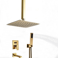 Wholesale And Retail Ceiling Mounted Bathroom Rain Shower Head 3 Ways Valve Mixer Tap Tub Spout Hand Unit