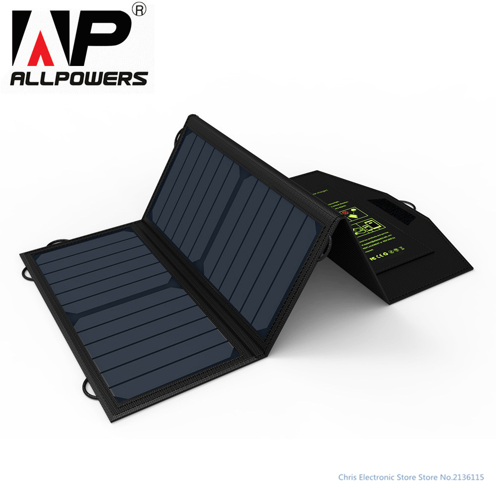 Original ALLPOWERS 18W 5V Solar Panel Cell Charger for iPhone iPad Samsung Phones Power Banks Dual USB Output Fast Charging 14w solar charger dual usb output solar cell solar panel 12v ourdoor camping charger for laptop bluetooth headset ipod and more