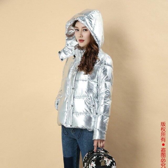 Women winter jackets Short warm coat Silver metal color bread style 2017 ladies parka winterjas dames abrigos mujer invierno