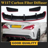 Для Mercedes Benz CLA W117 CLA180 CLA200 CLA250 CLA45 углеродного волокна красная линия задний диффузор CLA45 AMG посылка 2013 2015 изложе