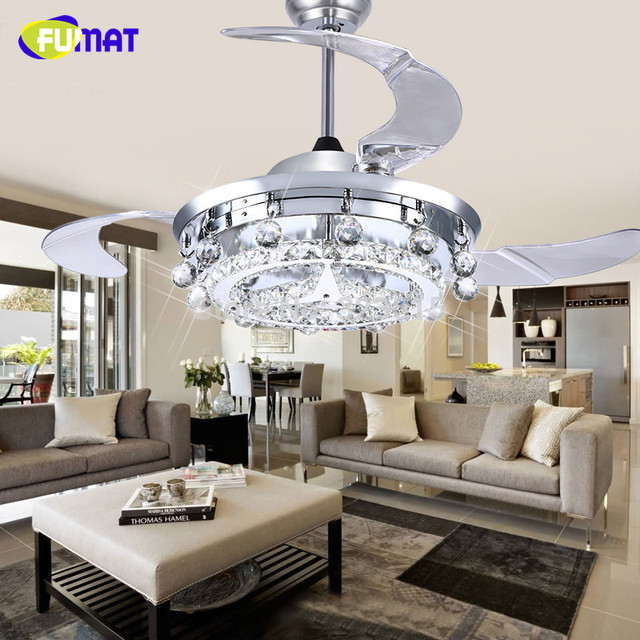 FUMAT LED Ceiling Fans Crystal Light Dining Room Living Room Fan Droplights  Modern Crystal Ceiling Fans