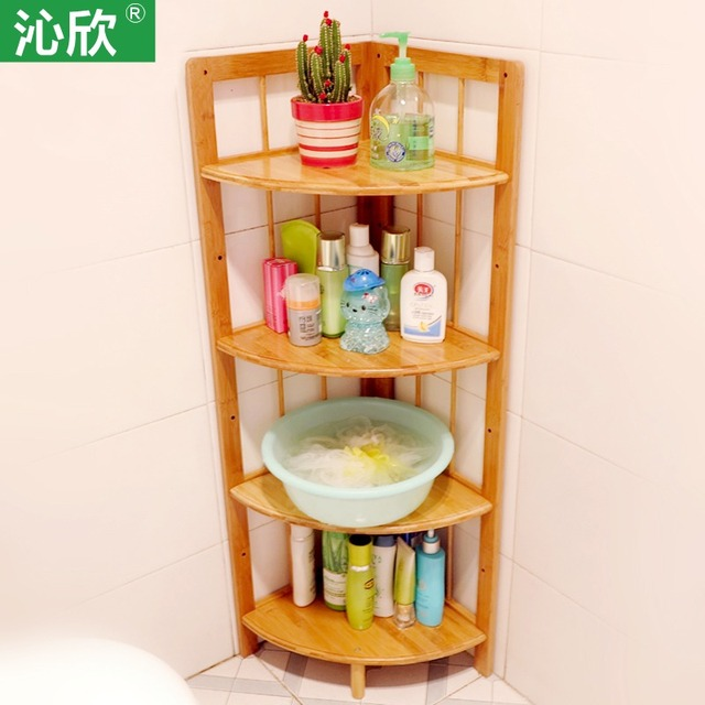 Bamboo Bathroom Floor Corner Shelf Bathroom Shelf Washbasin Home Wood  Storage Compartment Shelves Specials