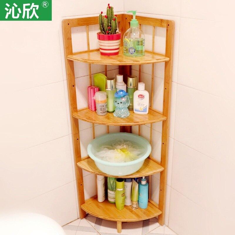 compartiment de rangement en bois bambou etagere d angle de salle de bain lavabo maison etageres speciales