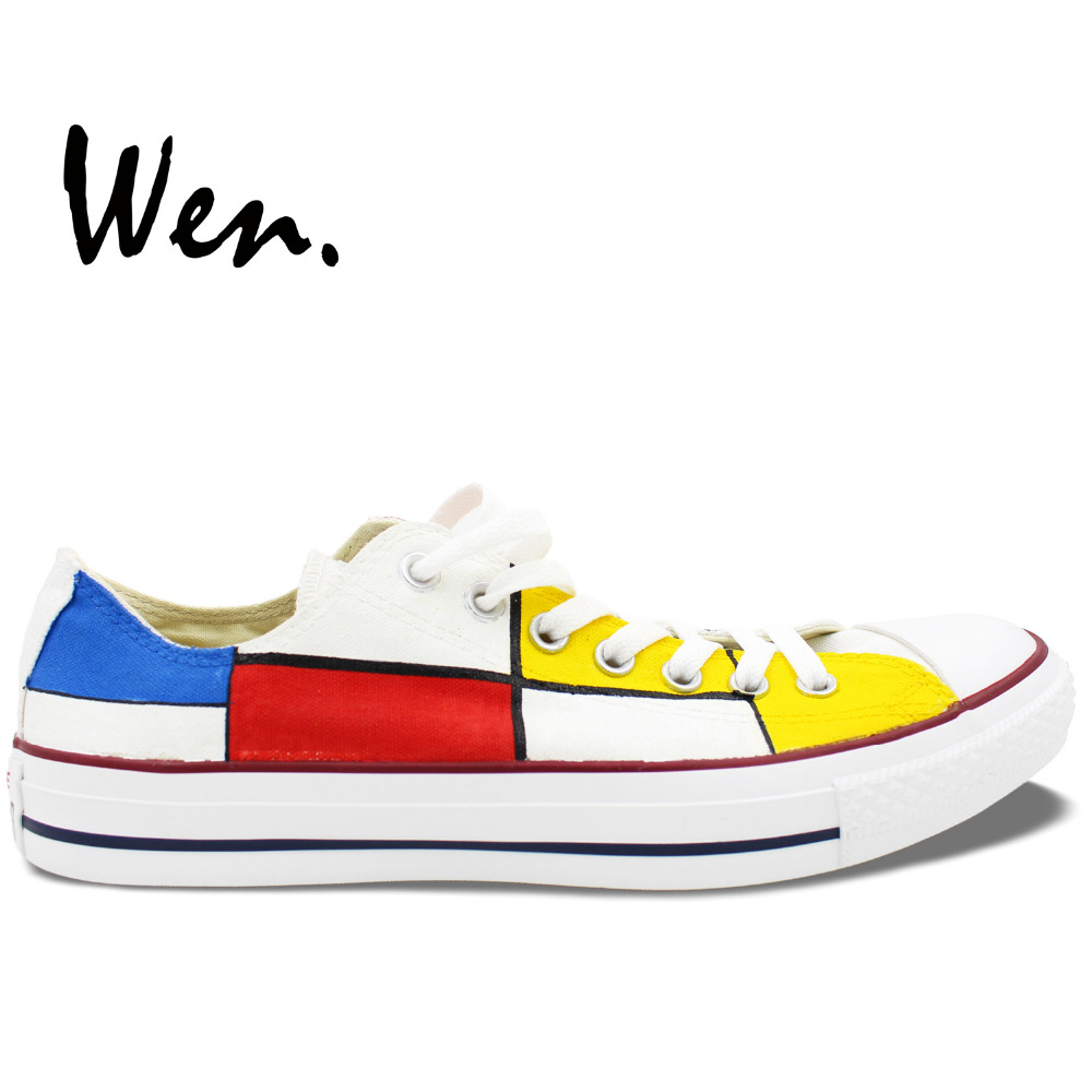 Wen Unisex Hand Painted Casual Shoes Custom Design Mondrian Men Women's Low Top White Canvas Shoes for Gifts e lov fashion brand custom hand painted taurus horoscope canvas shoes low top casual shoes espadrilles design for lovers