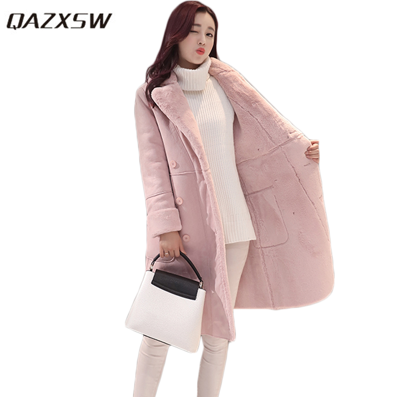 QAZXSW 2017 New Winter Cotton Coat Women Long Parkas Thick Velvet Double Breasted Lamb Winter Jacket Women Suede Jackets HB321 qazxsw 2017 new winter cotton coat women long parkas thick velvet double breasted lamb winter jacket women suede jackets hb321