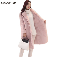 QAZXSW 2017 New Winter Cotton Coat Women Long Parkas Thick Velvet Double Breasted Lamb Winter Jacket