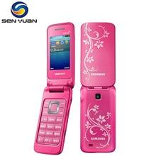 Разблокированный мобильный телефон SAMSUNG C3520 Bluetooth FM радио Флип C3520 сотовый телефон