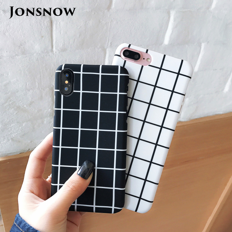 KIP7P1259_1_JONSNOW Black White Plaid Stripe Pattern Phone Case For iPhone 6 6S 7 8 Plus XS XR XS Max Cases Painted PC Hard Protective Back Cover