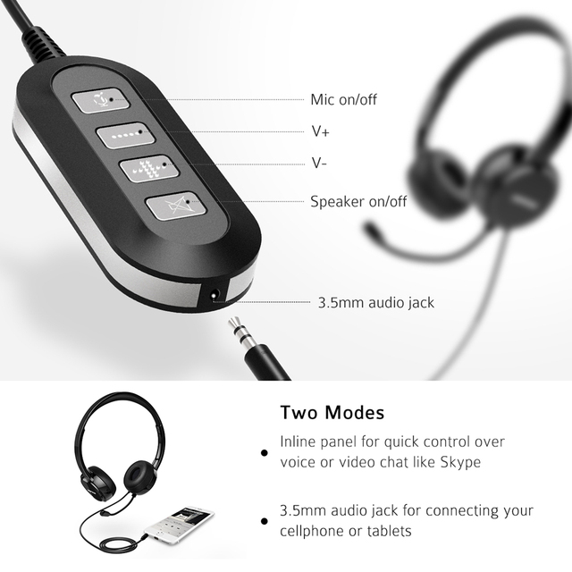 PA071 Wired Headsets Crystal Clear Sound With Mic&In-line Control Wired Headphone for Mac PC Computer Office Skype Calls 6