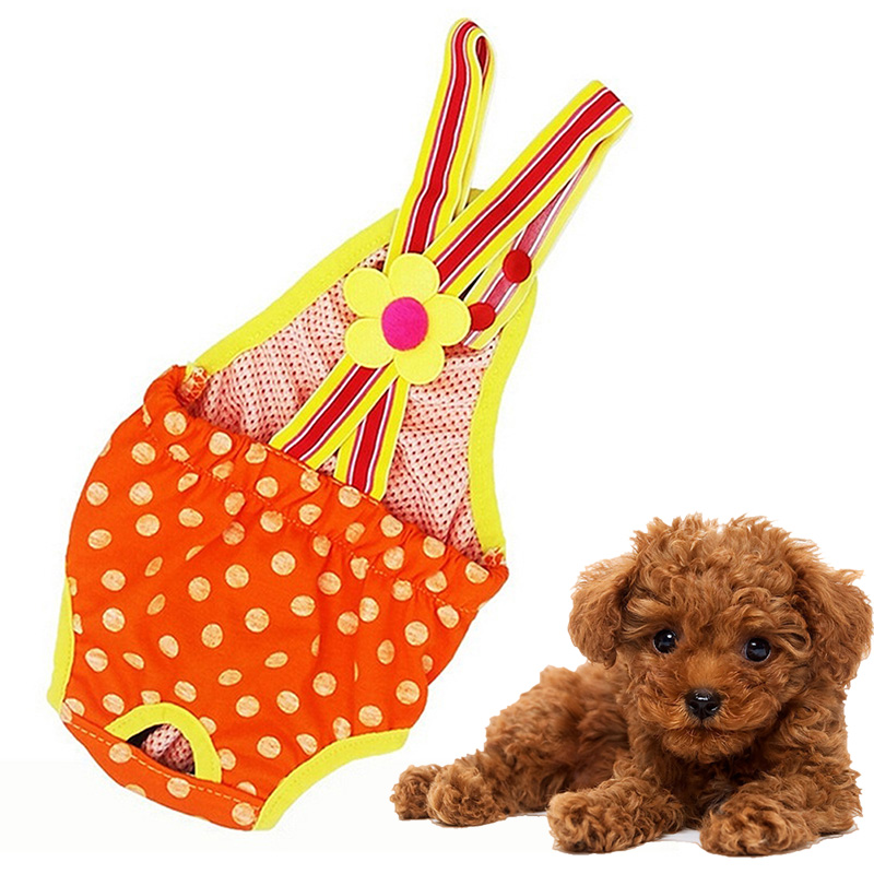 Cute Pet Dog Cat Clothes Cotton Polka Dots Suspender Pants Physiological Underwear Tighten Sanitary Briefs FBE2