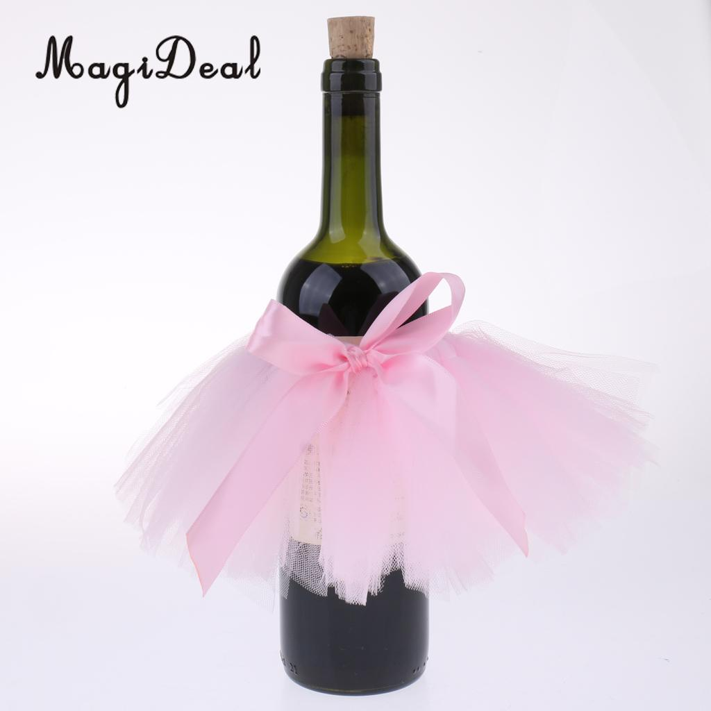 3739e48006 3pcs Tulle Wine Bottle Tutu Skirt Bottle Cover Table Centerpiece Decoration