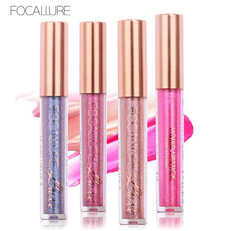 Focallure batom matte batom líquido brilho metálico matiz lábio maquiagem nude make up lip gloss vara cosméticos à prova d' água