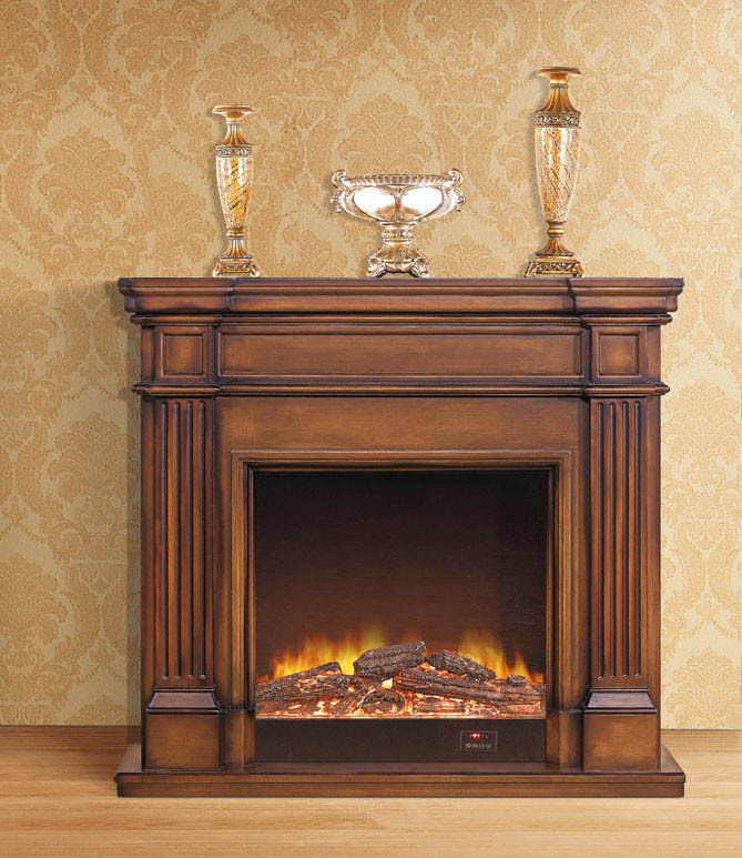 European Style Fireplace Carved Wood Electric Fireplace