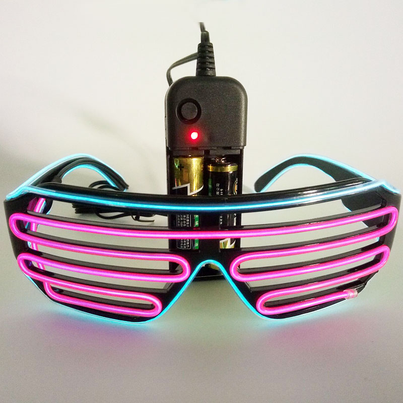 LED EL Glasses / EL Mask Battery Box Power Supply Cold Light / Light Any Deformation Of Fluorescent Light Show Props Ten Colors